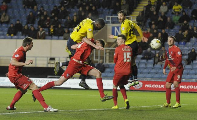 Chey Dunkley makes no mistake with this header as he gives Oxford United a 2-0 lead Picture: David Fleming