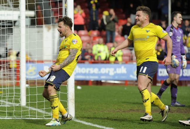 Chris Maguire celebrates after scoring Oxford United's fourth and his second goal in the 5-1 win over Crawley Town Picture: David Fleming