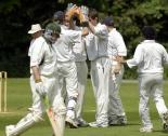 Bicester & North Oxford celebrate taking the wicket of Shipton's Paul Hemming