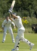 Jack Taylor playts and misses during his innings of 62 for Great Tew against Banbury Twentyury Twentry