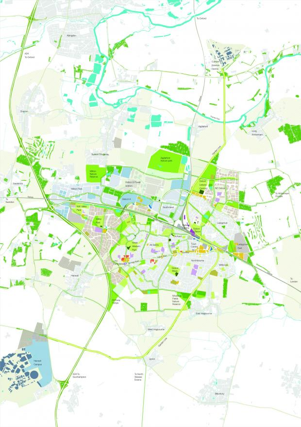 Bicester Advertiser: The map of Didcot Garden Town masterplan.