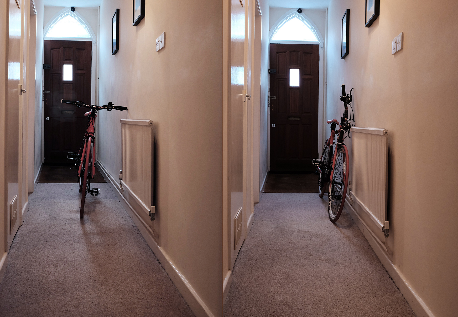 An Urbancyclo Quicktwist bike, twisted and parked in a hallway for easy, safe storage