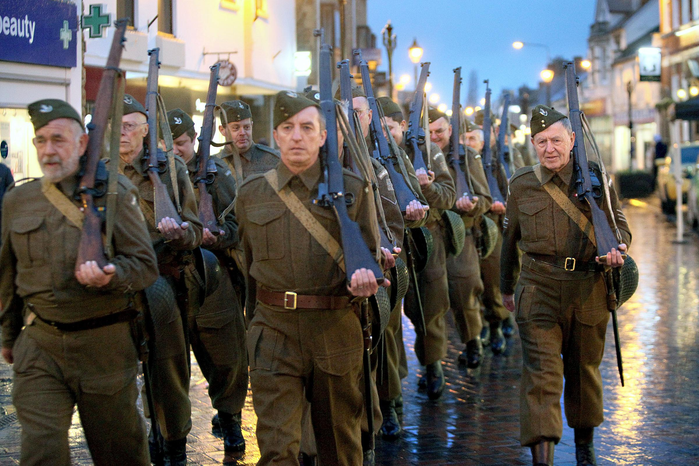 Oxfordshire Home Guard march down Sheep Street in Bicester. Picture: Lucy Ford
