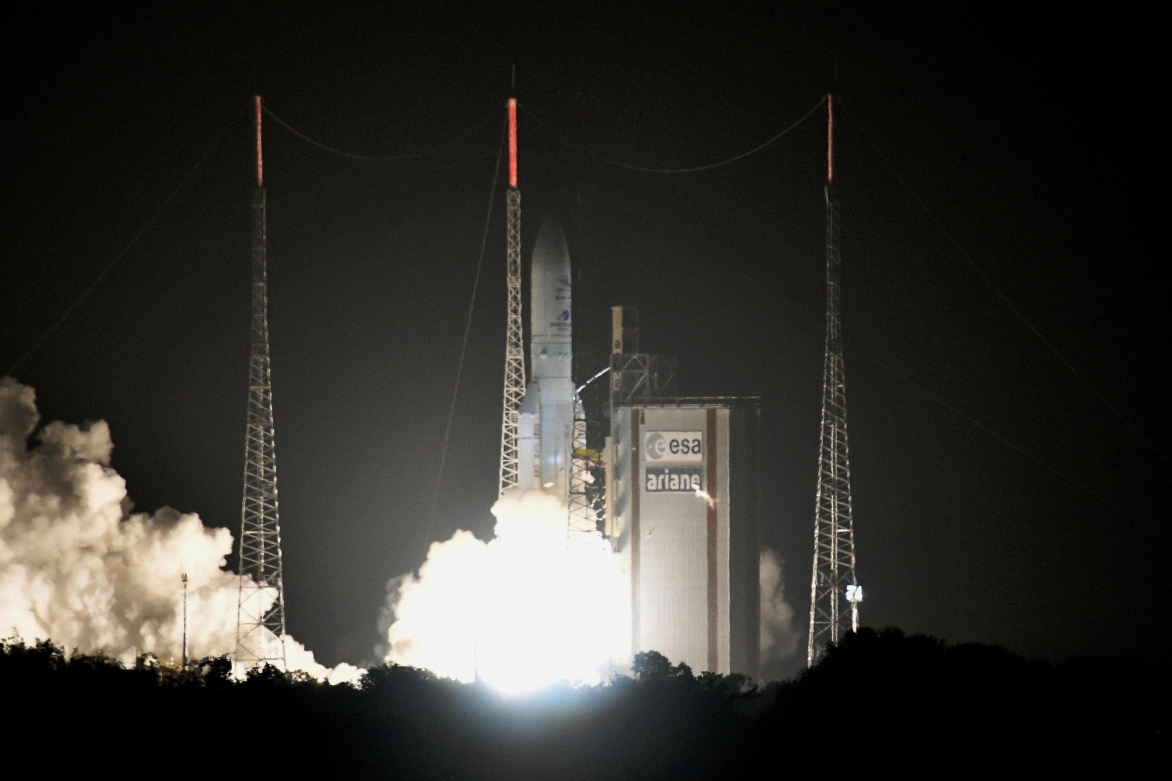 The Ariane 5 rocket carrying BepiColombo lifts off