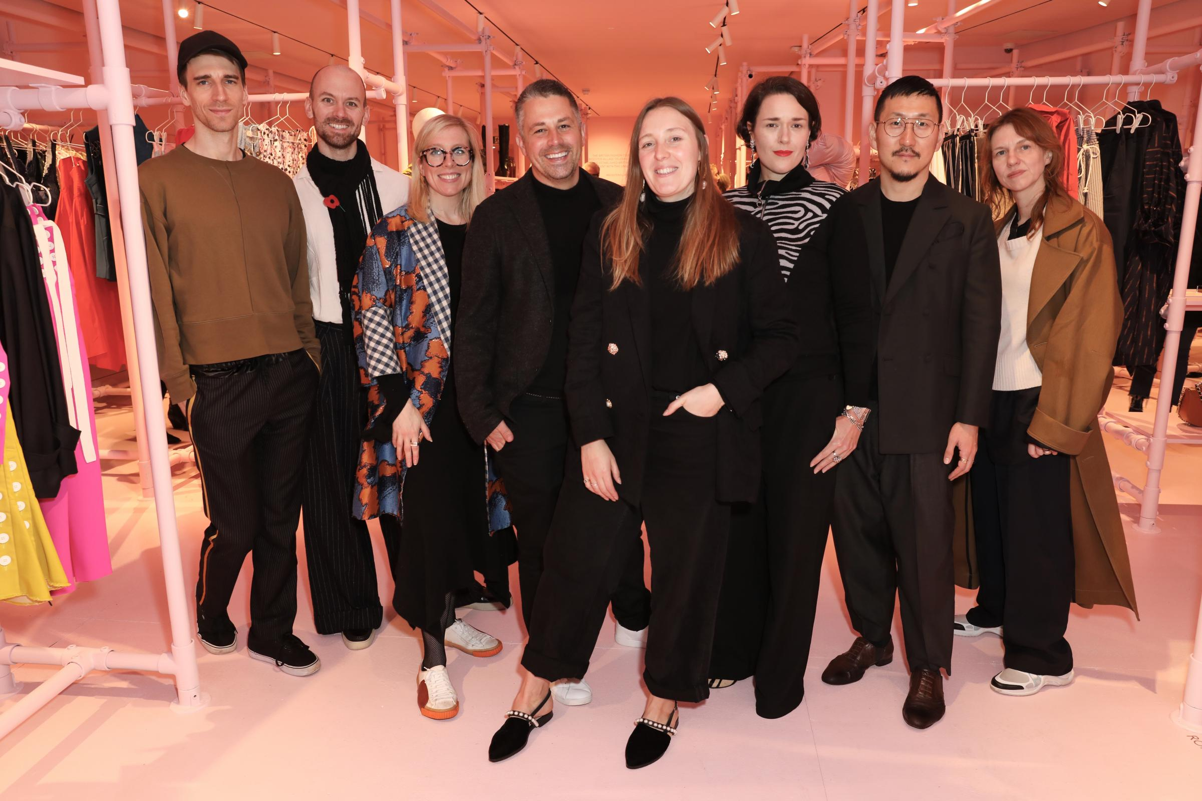 Fashion sense: Left to right: Levi Palmer, Matthew Harding, Catherin Taetum and Rob Jones, Amy Powney, Holly Fulton, Desiree Bollier, Eudon Choi, Sharon Wauchob. Picture: Bicester Village