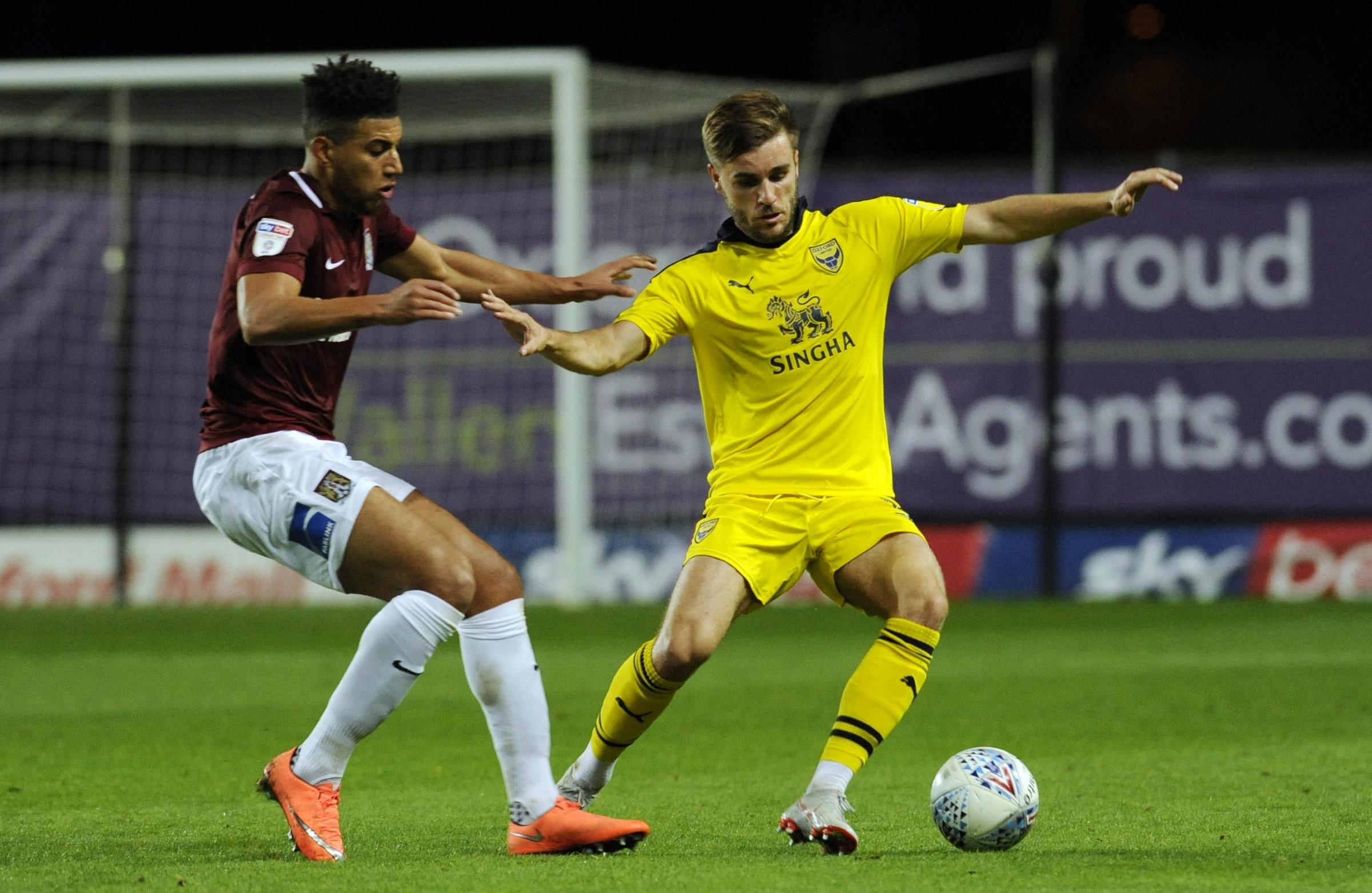 Luke Garbutt takes on Northampton Town in the group stage  Picture: David Fleming
