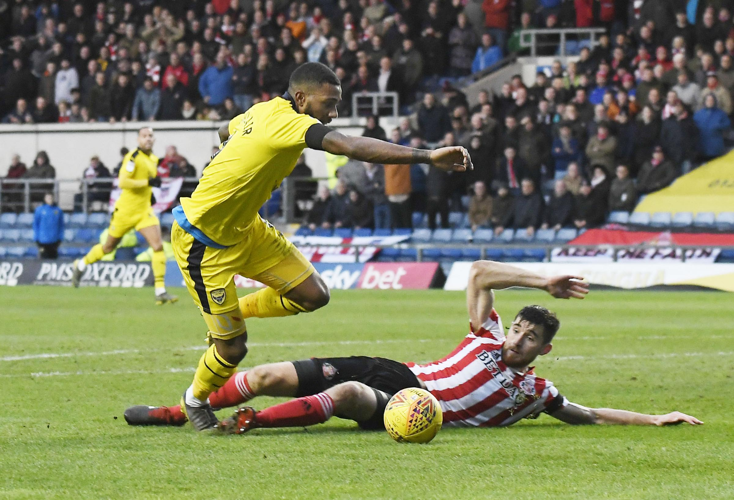Jerome Sinclair goes through to set up Oxford United's equaliser against Sunderland  Pictures: David Fleming