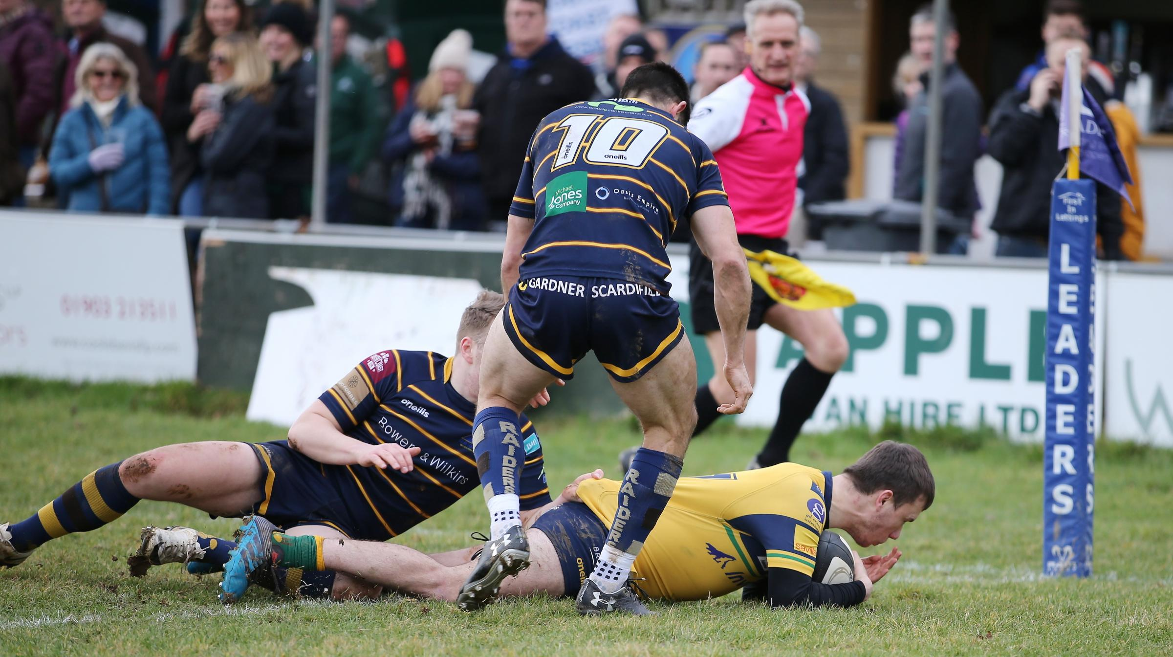 George Griffiths dives over for one of his three tries during Henley Hawks' win over Worthing Picture: Steve Karpa
