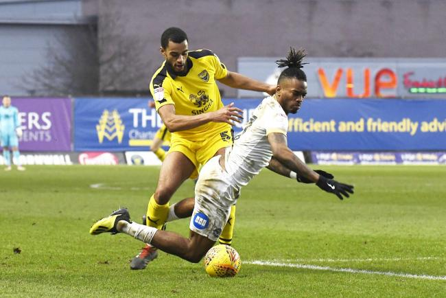 Oxford Utd V Peterborough.Curtis Nelson on Ivan Toney..Picture by: David Fleming.