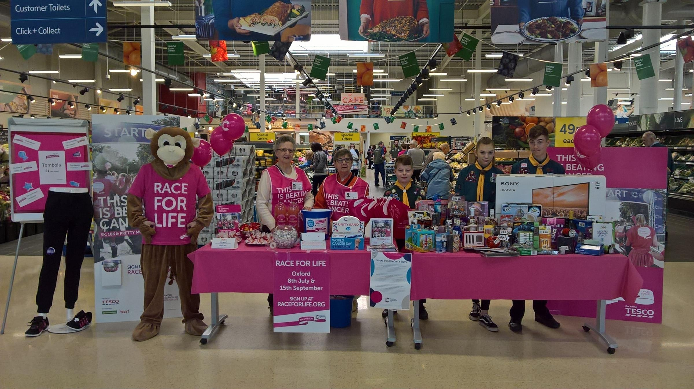 The team at Tesco Bicester turn pink in support of Race for Life 2018