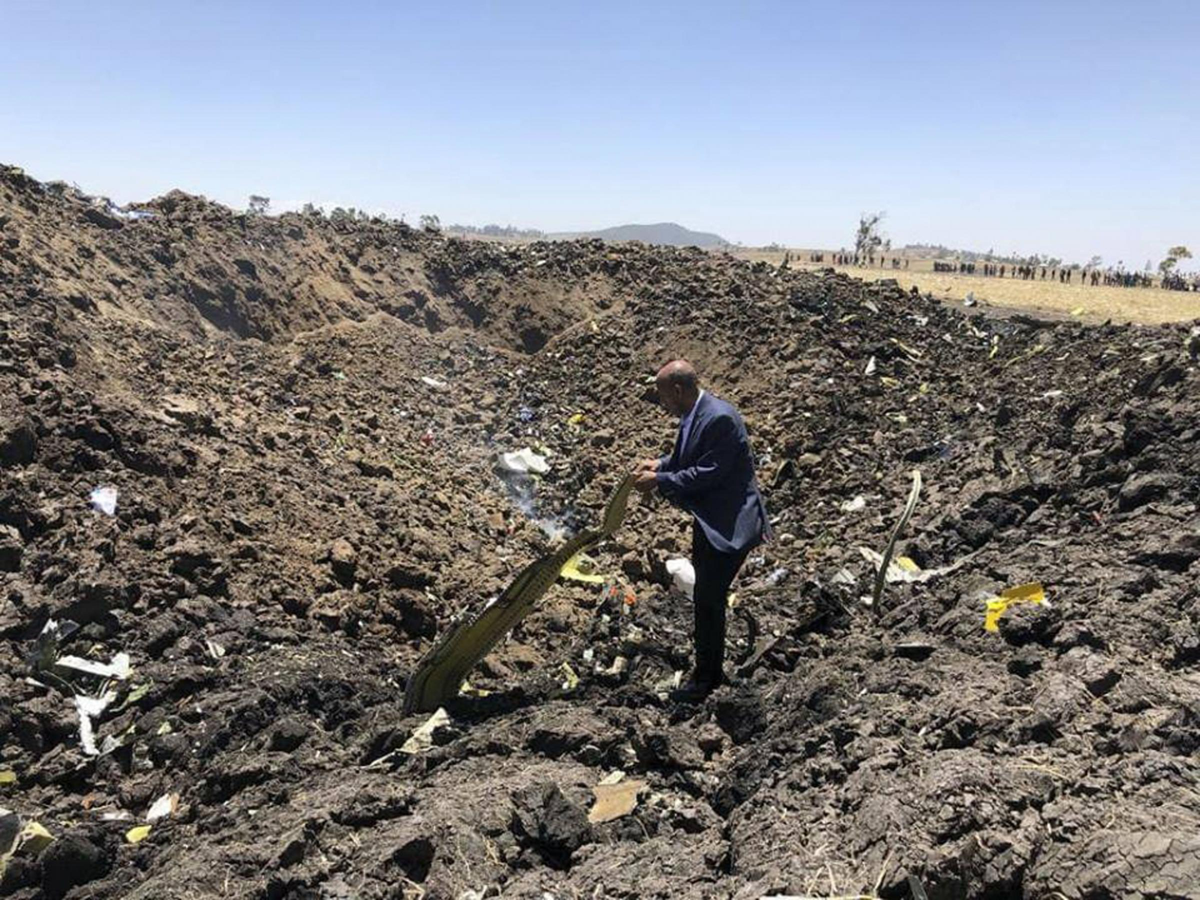 The wreckage after the Ethiopian Airlines plane crash, which killed 157