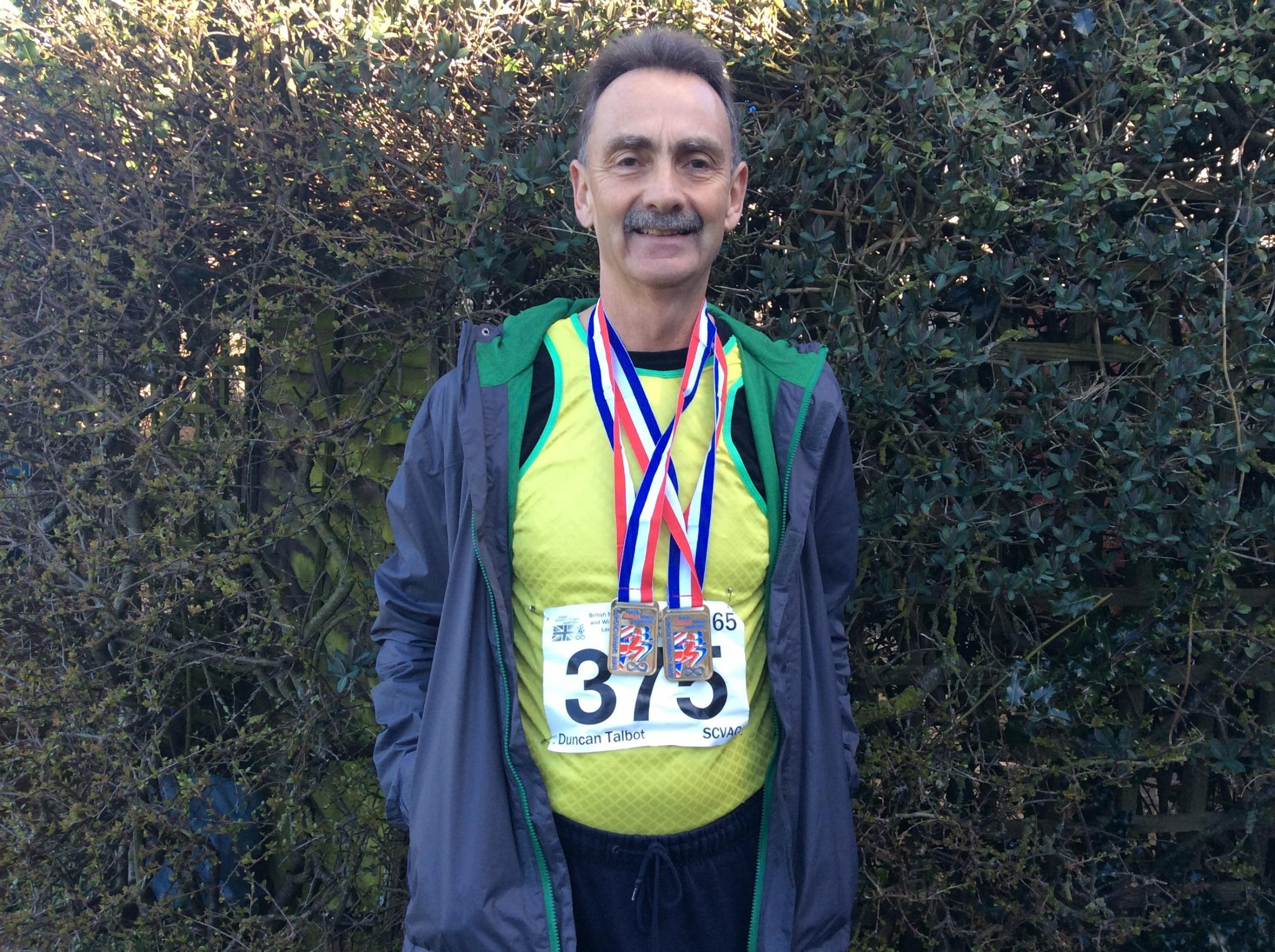 Duncan Talbot with his medals at Lee Valley