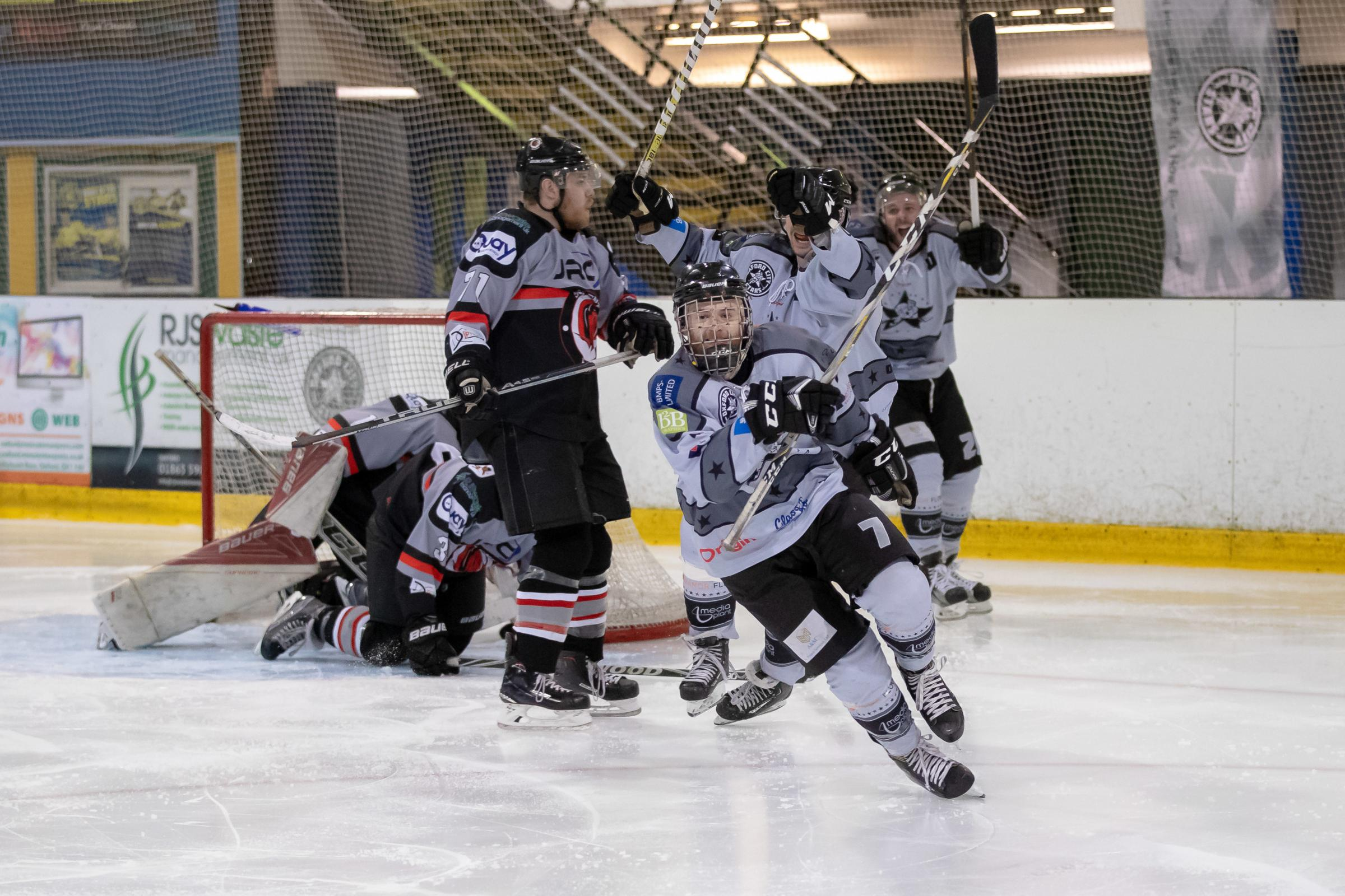 Josh Oliver celebrates levelling the scores early in the second period on Saturday   Pictures: Paul Foster