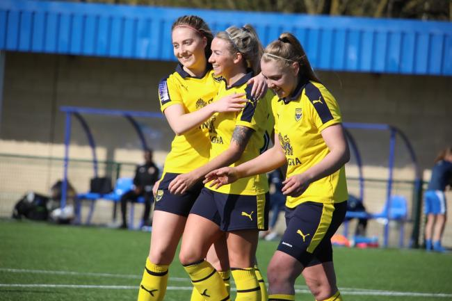 Georgia Timms (right) scored for Oxford United in the friendly   Picture: Darrell Fisher