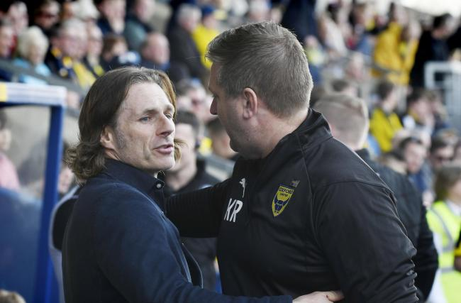 Wycombe Wanderers boss Gareth Ainsworth (left) with Oxford United counterpart Karl Robinson during the sides' league meeting in December   Picture: David Fleming