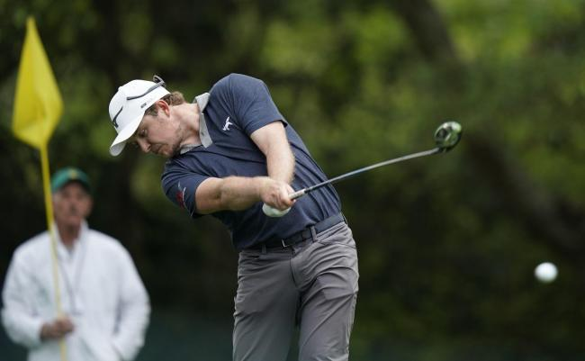 Eddie Pepperell  tees off at the second in his first round at Augusta     Picture: AP Photo/David J. Phillip