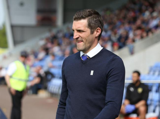 Shrewsbury Town manager Sam Ricketts during April's game against Oxford United Picture: Richard Parkes
