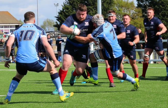 Pete Boulton charges towards the line for his try against Notts, Lincs & Derbys, but a knee injury looks to have ruled him out for the rest of the campaign Picture: Simon Grieve