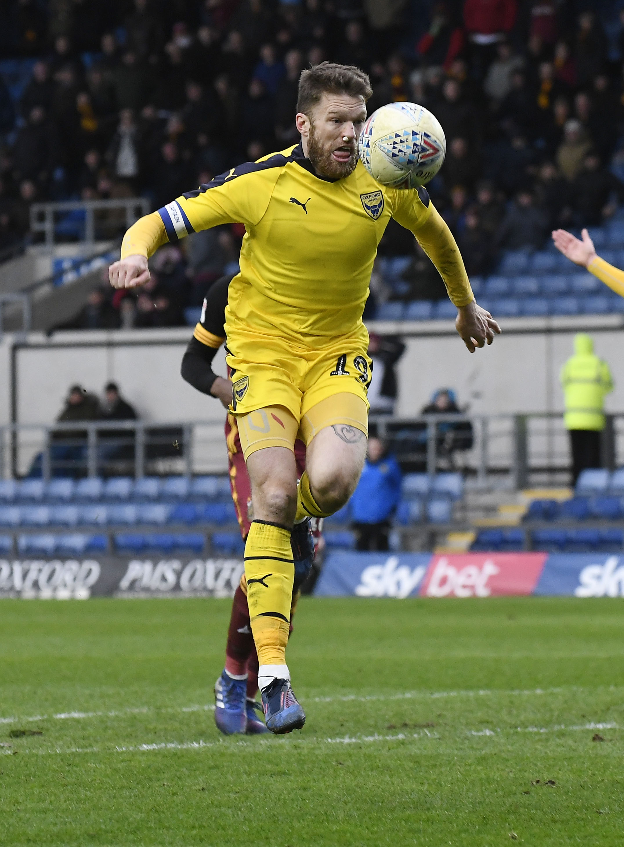 A patched-up Jamie Mackie gets ready to bury a chance in the 94th minute against Bradford City – before all hell broke loose as the officials decided if the goal should stand  Pictures: David Fleming