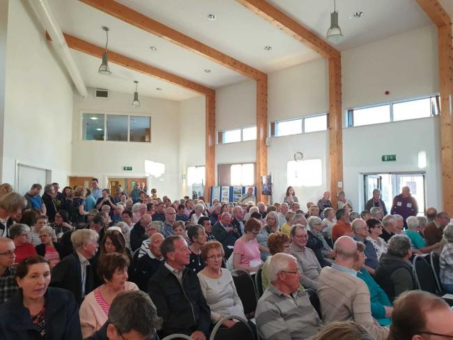 Some 200 Bicester residents crammed into the John Paul II Centre on Wednesdsay, May 14, 2019, for a meeting about plans for a new £15m health hub in the town. Picture: Chris Ord