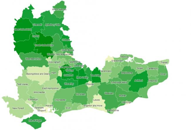 The recycling rates map of the South East by InSinkErator.