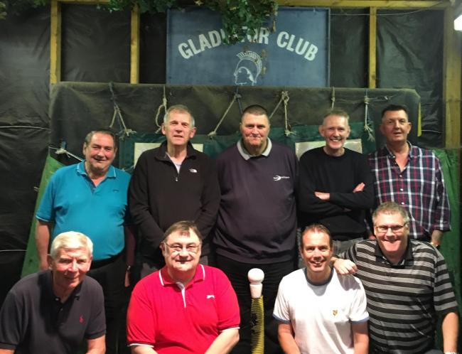 Gladiators A finished the season as top scorers. Back row (from left): Dennis Butler, Barry Townsend, Kevin Giles, Chris Jenkins, Martin Cook. Front: Tony O'Brien, Kevin Baker, Jason Weller, Andy Beal