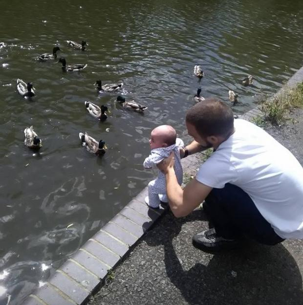 Bicester Advertiser: A young Isla-Rose meets some ducks with Dad Danny