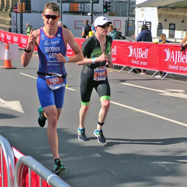 Bicester Tri's Jack Goodwin on his way to British U20 glory in Leeds